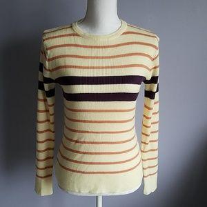 Vintage Striped Rib Knit Top M/L